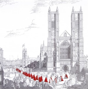 Westminster Cathredral, London, With A Procession Of The Knights Of The Order Of Bath by John M Canal
