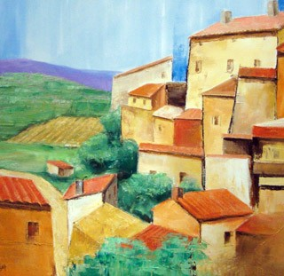 Cotes du Rhone, Lee Chabot, Oil on Canvas