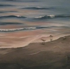 Beach With Sandpipers detail