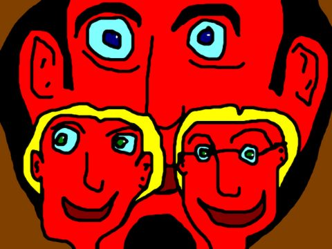 """""""Big H Two Small Heads"""" Limited Edition Lithograph by Ringo Starr"""